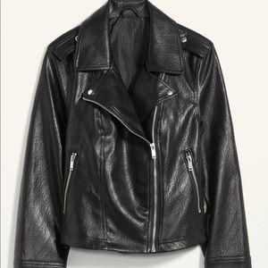 Faux leather moto women jacket